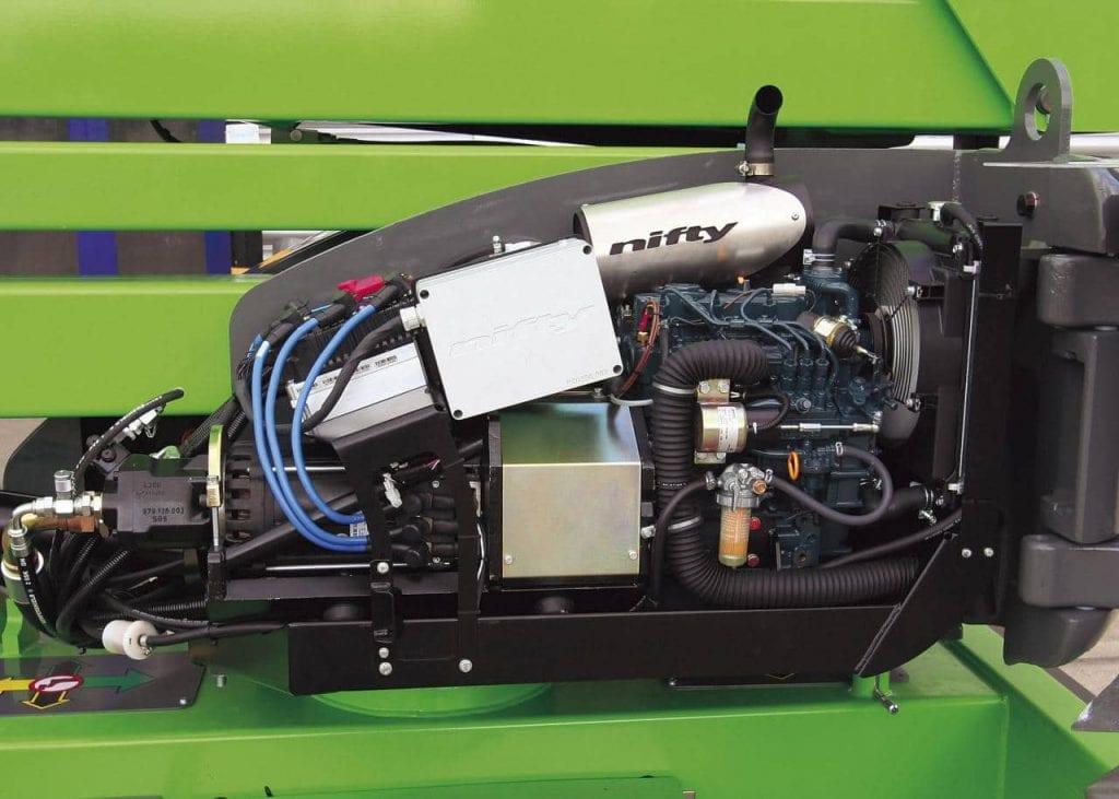 Beskrivende bilde av hvordan niftylift sine hybrid motorer ser ut