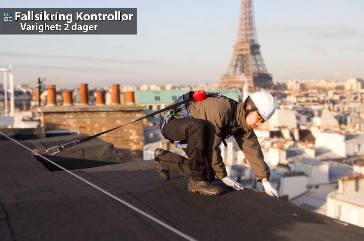 Fallsikring kontrollør - Bildet viser en som arbeider i høyden iført skikkelig fallsikringsutstyr midt i Paris